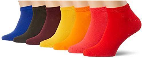 Jack & Jones JACBASIC Short Sock 7 Pack Calcetines, Surf The Web/Detalles: Diva Pink-Persimmon Orange-Forst Night-Port Royale-Yolk Yellow-Firey Red, Talla única para Hombre