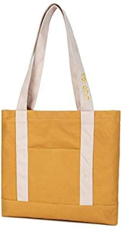 Bloomerang New Canvas Women Handbags Casual Female Shopping Shoulder Bag Fashion Zipper Closure Tote Hand Bags Large Capacity Beach Bag color Yellow