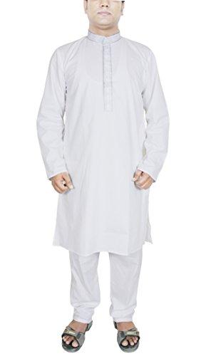 Robe Apparel Kurta Pajama Shirt hommes Indian main robe longue blanche Taille M
