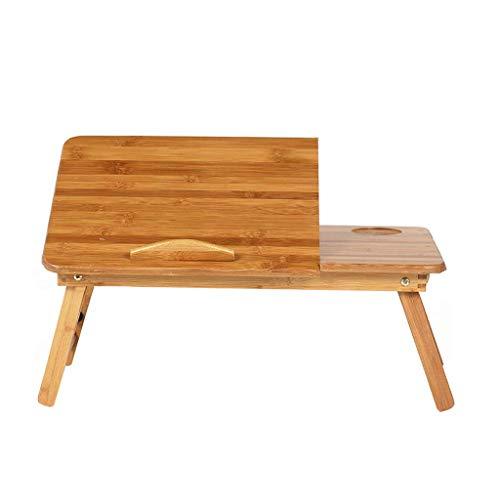 Pkfinrd met lade, bamboe, voor bed, laptop, kantoor, continu gebruik, ontbijtdienblad in hoogte verstelbaar, hoek verstelbaar, opvouwbaar, geschikt voor huis en badkamer Small