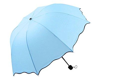 AikeSweet anti UV a cupola coreano principessa di stile pieghevole pioggia / Sole antivento ombrello multicolore per la scelta (azzurro)