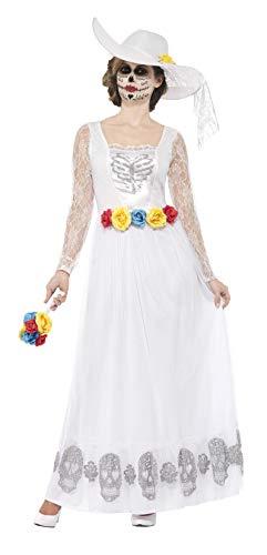 Smiffys Disfraz de Esqueleto de Novia del da de Muertos, Blanco, con Vestido, Sombrero