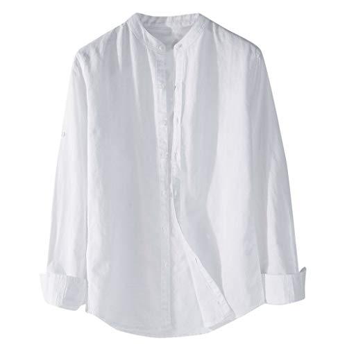 Homme Chemise Slim Fit Uni sans Repassage Chemises Casual Classique Business T-Shirt Manches Longue Col Tunisien Casual Tee Shirt Couleur Unie Chemise avec Boutonné