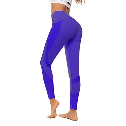 Running Yoga Pants Women Pure Color Gauze Pocket Elastic Fitness Pants Blue