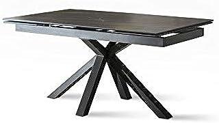 Table extensible de 160 cm à 240 cm, moderne de salle à manger, avec deux rallonges en céramique sur verre trempé et pieds...
