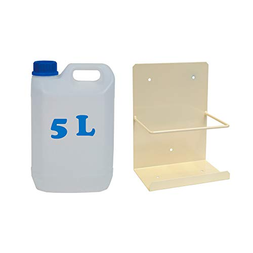 Pack bidón garrafa de plástico para condensados cinco litros + Soporte pared