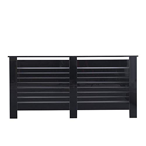 Kingwudo® Wooden High Gloss Radiator Cover Modern Decorative Cabinet S/M/L/XL Black (Black, X-L—172X19X82CM)