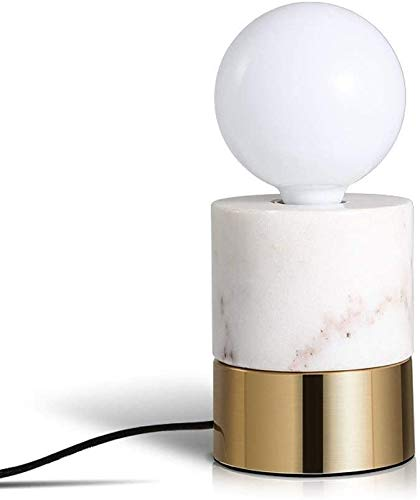 Creative Cylindrical Marble Table lamp Modern Minimalist Bedroom Bedside lamp Decorated Living Room Study,White