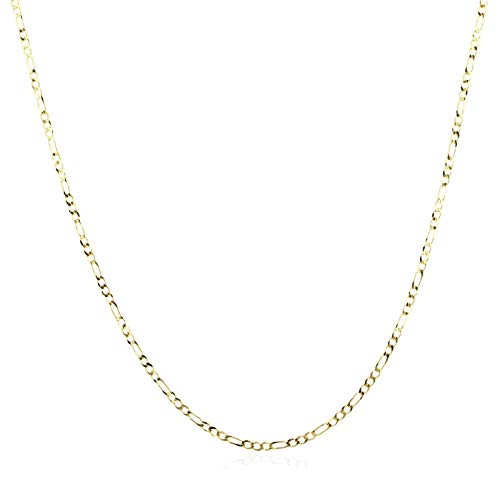 14K Gold 2.0mm Figaro/3+1 Link Chain Necklace- Made in Italy - Multiple Colors and Sizes Available (Yellow, 18)