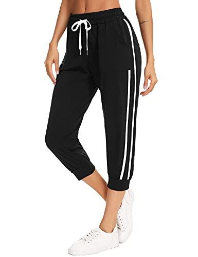 Sykooria Jogging Femme d'Été Pantalon Sport Femme Taille Haute Femme 3/7 Pantalon de Survêtement Femme Décontracté(L-Noir,XL)