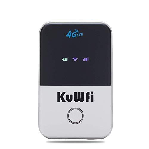 KuWFi 4G LTE Móvil WiFi Hotspot desbloqueado compañero de viaje inalámbrico 4G con ranura para tarjeta SIM, compatible con LTE FDD...
