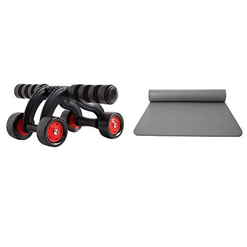 Rueda abdominal para hombres para practicar ejercicios musculares abdominales, equipo de fitness para niñas, artefacto rápido para el vientre delgado, rodillo abdominal (color: cuatro ruedas+yoga)