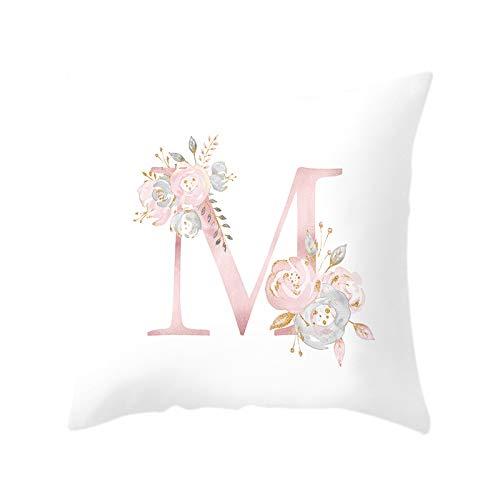TOOGOO Carta de 18 Pulgadas Funda de Almohada de ImpresióN Floral Rosa Funda de CojíN de Tiro Funda de Almohada Sofá DecoracióN para el Hogar Letra M