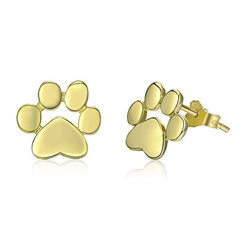 ZHWM Orecchini Cerchi Orecchini a perno Zampa Orecchini Argento 925 Orme Animali per Le Donne 3 Colori Gioielli in Oro Colore, A