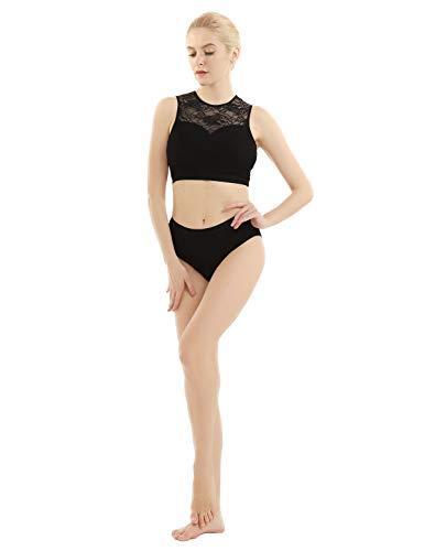 iEFiEL Donne e Ragazze Abiti da Balletto Vestito da Danza del Ventre Costume da Moderno Jazz Latino Set da Ginnastica 2 PCS Top + Mutande Outfits Body in Pizzo Dancewear Nero S
