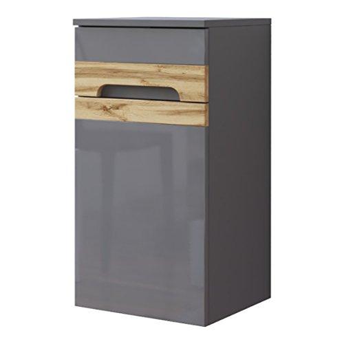 Hangkast 'Jay H1' badkamerkast badkamer hangplank hoogglans grijs eiken