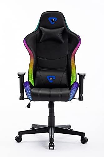 Silla Gaming RGB. Silla Escritorio con Luces LED. Silla butaca Gaming RGB. Sillon Gamer, computadora con Luces LED (Logo LC Azul RGB)