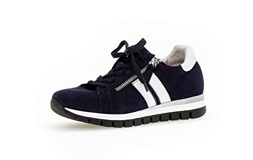 Gabor Damen Sneaker, Frauen Low-Top Sneaker,Comfort-Mehrweite,Reißverschluss,Optifit- Wechselfußbett, weibliche Ladies,Bluette/Weiss,40 EU / 6.5 UK