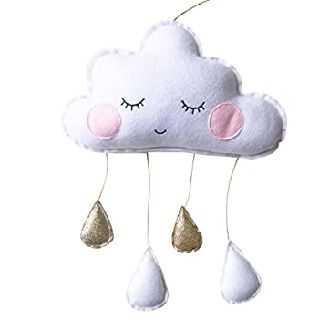 VORCOOL Cloud Raindrop Hanging Pendants Nursery Bedroom Wall Window Tent Cribs Beds Ceiling Garland Decoration for Baby Kids Children