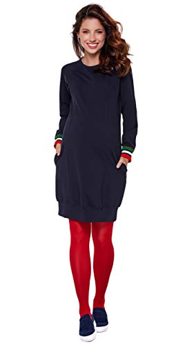 Be Mama - Maternity & Baby wear 2in1 Umstandskleid, Stillkleid, Damentunika, Modell: SPORTISSIMA, dunkelblau, L