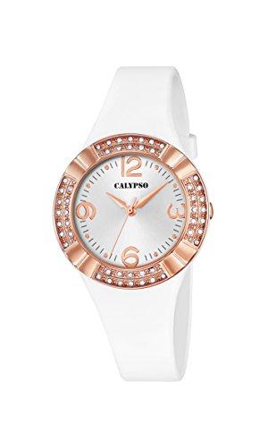 Calypso Reloj de Cuarzo para Mujer con Esfera Blanca analógica y Correa de plástico Blanca K5659/1