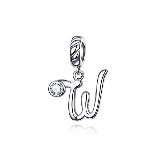 MiniJewelry - Abalorio de plata de ley para pulsera, diseño de letras, 26 letras del alfabeto, para niñas, mujeres, hermanas, madre, familia, regalo de Navidad, cumpleaños