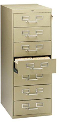 Tennsco CF758SD 7-Drawer Card Cabinet, w/Lock, Cap.38,100,19-Inch x28-Inch x52-Inch, Sand
