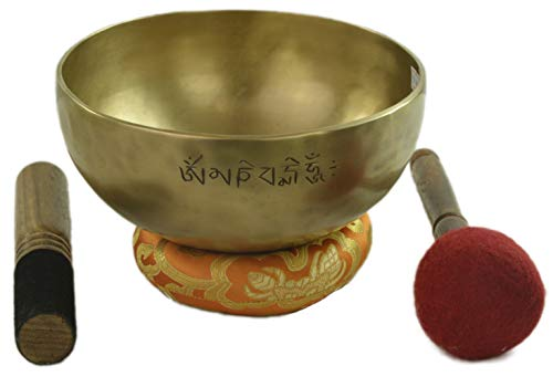 Caputo purecachemire - Tibetan Bell - 7 metals - Hand forged - Original Nepal - Full Moon with engraving designs Mantra (diameter cm.12-weight gr.281,80-note Do)