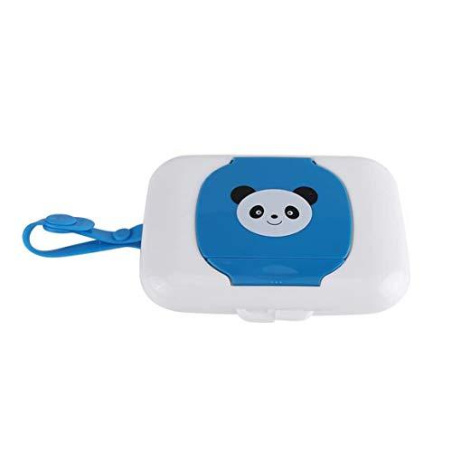 Caja portátil de pañuelos húmedos para bebés Caja cuadrada con solapa Cuerda de silicona Dispensador de pañuelos esterilizados Caja de almacenamiento al aire libre - Azul