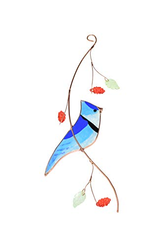Lolitarcrafts Blue Jay Stained Glass Sun Catcher for Window Hanging A Lovely Gift for Your Family