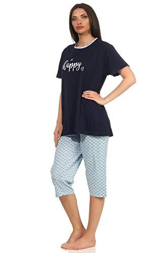 Damen Capri Pyjama Schlafanzug Kurzarm in toller Herz-Punkte-Tupfen Optik 64237, Farbe:Navy, Größe2:40/42