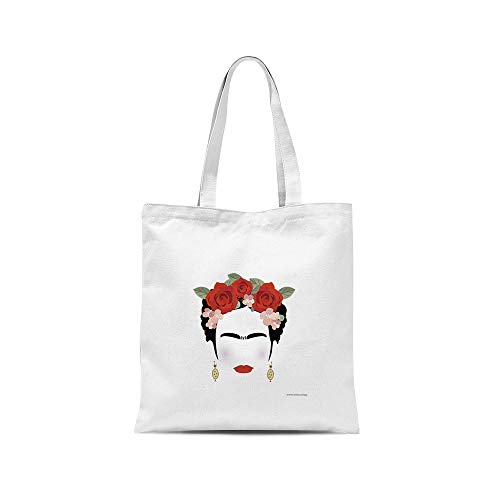 All Sas - Bolsa shopper frida Kahlo 100% tela de algodón estampado Made in Italy