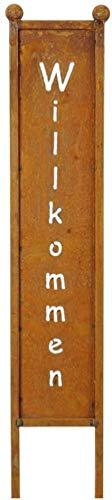 B2S BACK2SEASON Metall Schild Willkommen Rost-Finish Stelle Gartendeko Tafel Schriftzug Winterdeko Frühlingsdeko Gartenstecker Gartenstele Hallo Wellcome Garten Edelrostdeko braun Höhe 78cm (Rost)