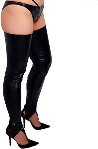 DooWay Women s Sexy Faux Leather Stirrup Leg Warmers Over the Knee Long Boot Socks Black product image