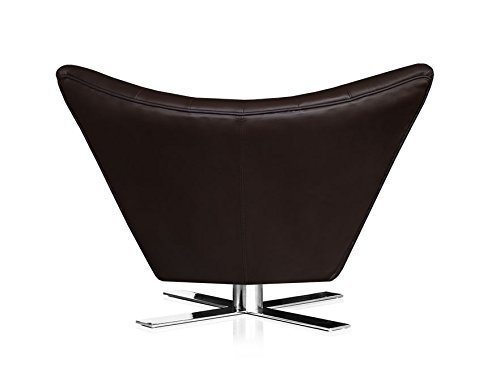 NEUERRAUM Drehbarer V-förmiger Echtleder Ohrensessel Fernsehsessel Armlehnsessel Lounge Sessel. Abbildung in Leder Dunkelbraun.