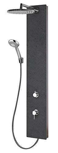 Schulte D9667 601 Duschsystem Deco-Design Stein anthrazit Struktur, Einhebelmischer, Kopfbrause rund, Duschmaster Rain mit Regendusche