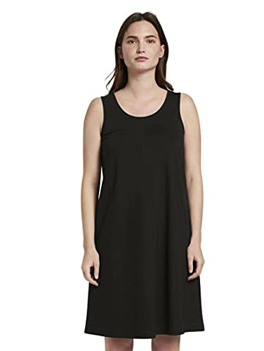 TOM TAILOR mine to five A- Linie Jersey Vestido, 14482/Deep Black, 34 para Mujer