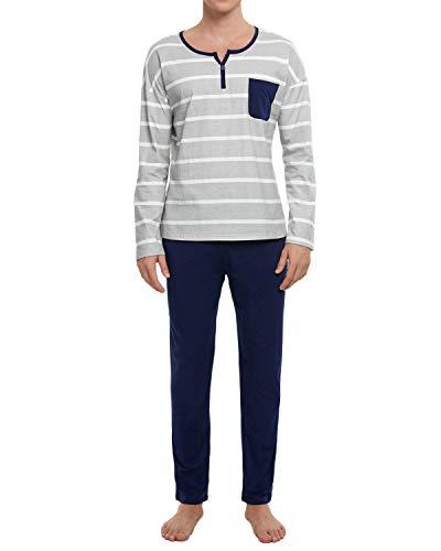 GOSO Pijama para Hombre Conjunto de algodón Ropa de Dormir Manga Larga Top con Pantalones Largos Suave Cómodo Ropa de Dormir
