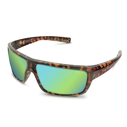ACBLUCE Polarized Sports Sunglasses for Men Women Fishing Driving Cycling Running Durable Light-Weight with UV Protection (Frame:Matt Tortoise/Lens:Greenish Yellow Polarized)