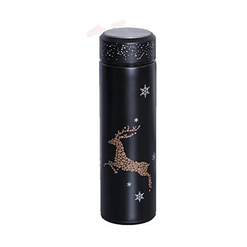 N&A Isolierwasserbecher Weihnachtselch Sternenhimmel leuchtende Isolierwasserbecher 500ml doppelwandige Edelstahlisolierung, heiße und kalte Getränke jederzeit und überall