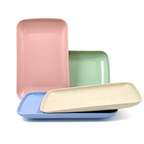 Roucerlin Platos de paja de trigo irrompibles, aptos para lavavajillas, reutilizable, duradero, ligero, para niños pequeños, platos llanos para frutas, aperitivos (25cm)