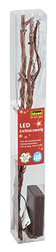 Idena 31813 - Deko Lichterzweig mit 12 LED in warmweiß, batteriebetrieben, ca. 40 x 15 cm groß, zur Dekoration für Vasen, Sideboards und Tische
