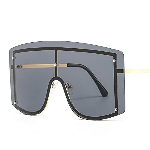 FENGHUAN Tendencia Gafas de sol de gran tamaño Mujeres Hombres Gafas de sol Gafas de una pieza a prueba de viento Espejo Gafas de sol Mujeres Ins Popular C1