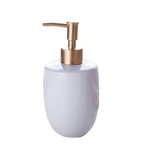 Liquide Distributeur Simple Blanc Violet Noir Lumière en céramique Liquide Distributeur de Salle de Bains Ménage Distributeur de Lotion (Color : White, Taille : 17 * 6cm)