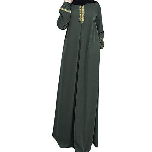 Lazzboy Frauen Plus Größe Drucken Abaya Jilbab Muslim Maxi Casual Kaftan Langes Kleid Robe Maxikleid Langarm Sticken Gewand Abendkleid Große Dubai Hochzeit Tunika Lang Kleider(Grün,2XL)