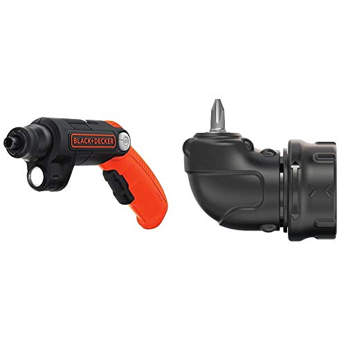 BLACK+DECKER 4V MAX Cordless Screwdriver with LED Light & Right Angle Attachment (BDCSFL20C & BDCSRAA)