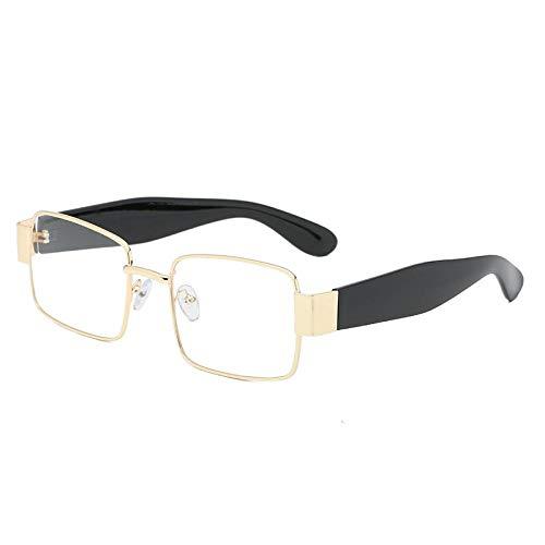 Nbrand Men Women Driving Retro Metal Frame Square Sunglasses Uv400 Goggles Goldclear