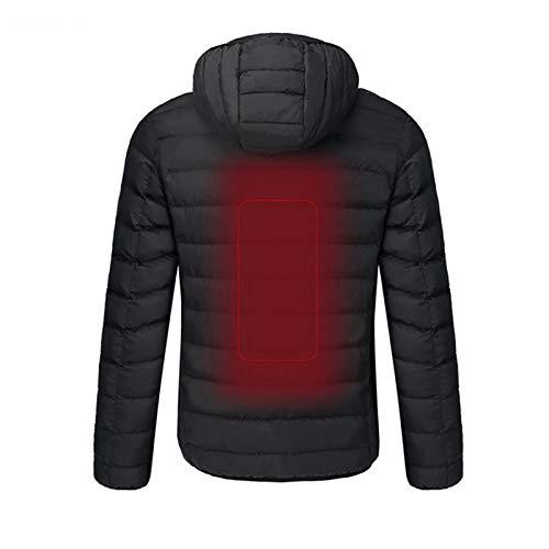 Chaqueta de ropa climatizada, 4 puntos calientes en la espalda, cuello y abdomen, al aire libre, carga USB, calefacción eléctrica para hombres y mujeres, ropa de algodón negro-XXXXL