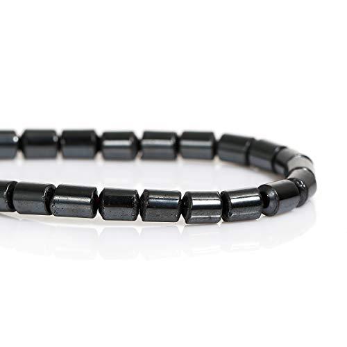 SiAura Material ® - 78 pièces, 1 rang, 4 x 5 mm perles hématite gris métal cylindre à bricoler.