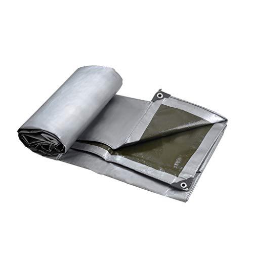 Qjifangfsh Tarpaulin, multifunctioneel, zonwering buiten, zilver + groen 3m*4m